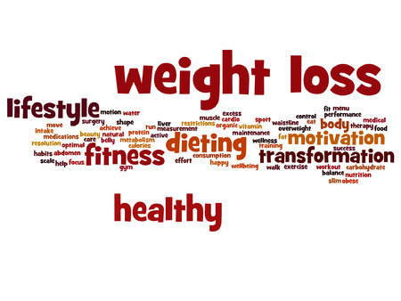 scale: Vector weight loss healthy dieting transformation word cloud isolated on background Illustration