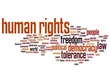 civil rights: Concept or conceptual human rights political freedom or democracy word cloud isolated on background