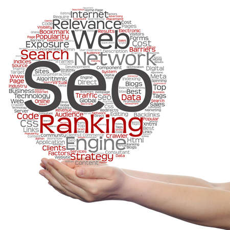 optimizing: Concept or conceptual search engine optimization, seo abstract word cloud in hand isolated