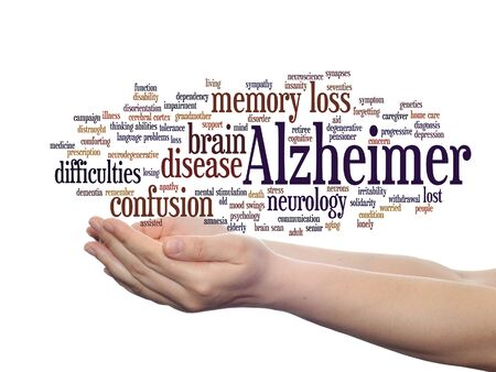 Concept or conceptual Alzheimer`s disease symptom abstract word cloud held in hands Stok Fotoğraf