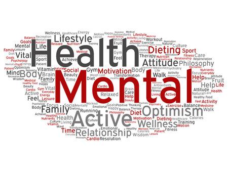 Conceptuele geestelijke gezondheid of positief denken woord wolk geïsoleerd Stockfoto