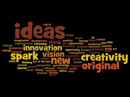resolutions: Concept or conceptual creative new ideas brainstorming word cloud isolated on background