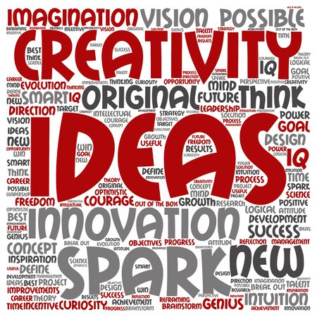 resolutions: Concept or conceptual creative new ideas or brainstorming word cloud isolated on background Stock Photo