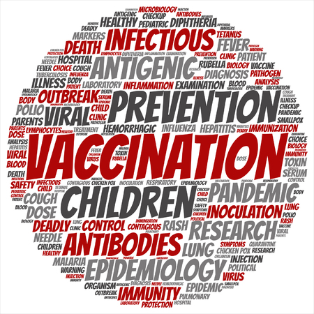 influenza: Vector concept or conceptual children vaccination or viral prevention word cloud isolated on background Illustration