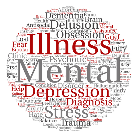 Vector conceptual mental illness disorder management or therapy abstract word cloud isolated