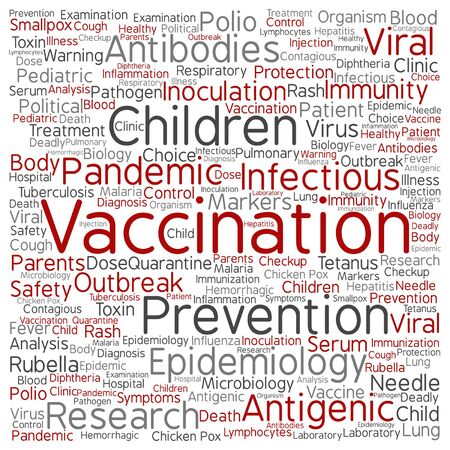 flu virus: Vector concept or conceptual children vaccination or viral prevention word cloud isolated on background Illustration