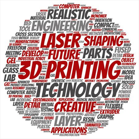 additive manufacturing: Vector concept or conceptual 3D printing creative laser technology word cloud isolated on background