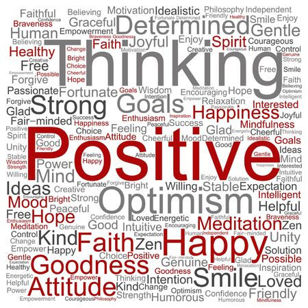 enthusiasm: Vector concept or conceptual positive thinking, happy or strong attitude word cloud isolated on background Illustration