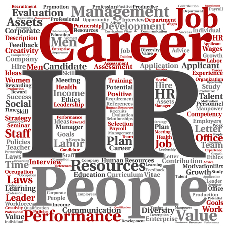 evaluate: Vector concept conceptual hr or human resources word cloud isolated on background Illustration