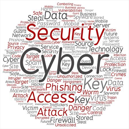 Vector concept or conceptual cyber security access technology round  word cloud isolated on background metaphor to phishing, key, virus, data attack, crime, firewall, password, harm, spam protection