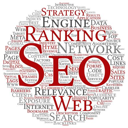 optimizing: Vector concept or conceptual search engine optimization, seo abstract word cloud isolated on background metaphor to marketing, web, internet, strategy, online, rank, result,  network, top, relevance