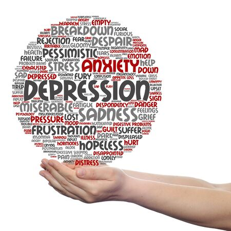 Concept or conceptual depression or mental emotional disorder word cloud held in hands isolated Stock Photo