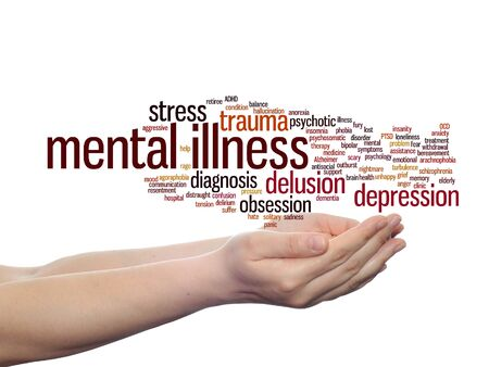 psychotic: Concept conceptual mental illness disorder management or therapy  word cloud in hands isolated Stock Photo