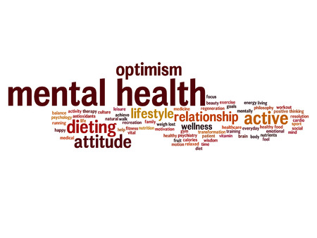 Concept or conceptual mental health or positive thinking abstract word cloud isolated on background metaphor to optimism, psychology, mind, healthcare, thinking, attitude, balnce or motivation Stock Photo