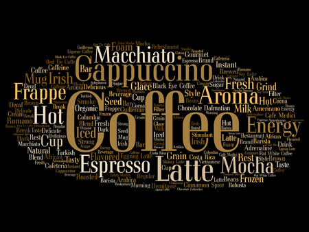 Concept conceptual creative hot coffee, cappuccino or espresso word cloud isolated