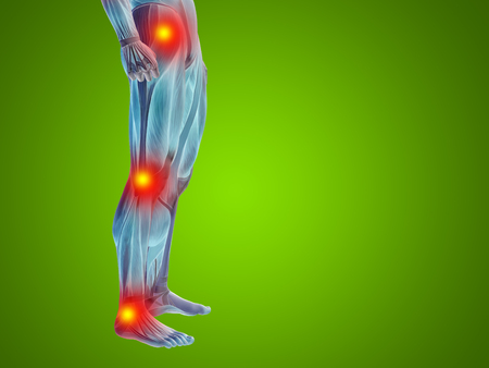 Conceptual human body anatomy articular pain green background