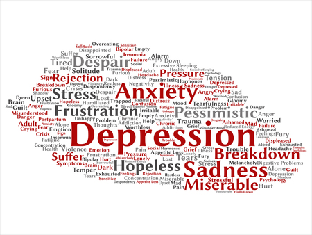 Vector conceptual depression or mental emotional disorder word cloud