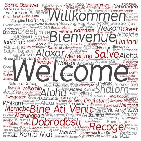 Vector concept or conceptual welcome or greeting international word cloud in different languages