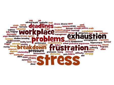 Vector conceptual mental stress at workplace or job word cloud Illustration