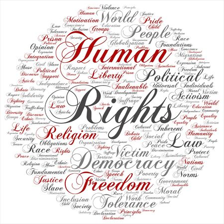 Vector concept or conceptual human rights political freedom or democracy word cloud