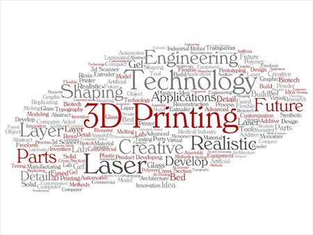 Vector concept or conceptual 3D printing creative laser technology word cloud isolated on background