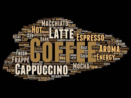 Vector concept conceptual creative hot coffee, cappuccino or espresso word cloud isolated Illustration