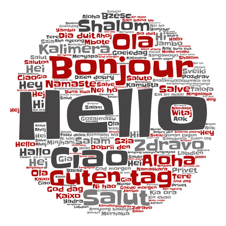 greet: Vector conceptual abstract hello or greeting international word cloud in different languages