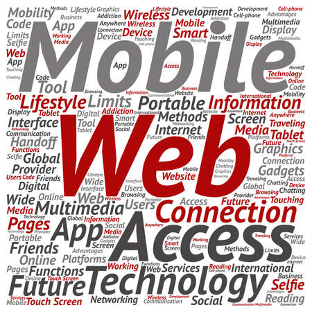 touch screen phone: Vector conceptual mobile web portable multimedia technology square word cloud isolated on background Illustration