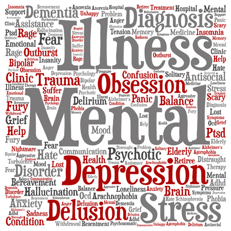 psychotic: A Vector conceptual mental illness disorder management or therapy abstract word cloud isolated.
