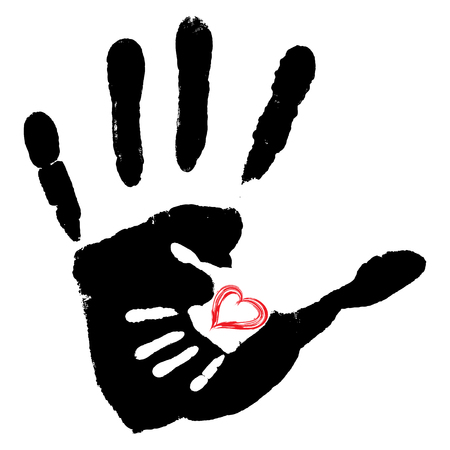 Conceptual cute paint hand of mother child and heart shape isolated on white background