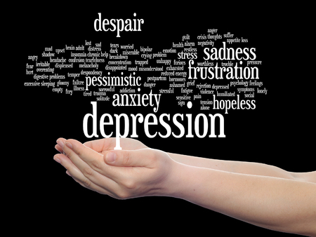 Concept or conceptual depression or mental emotional disorder word cloud held in hands isolated  Reklamní fotografie