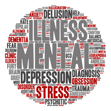psychotic: Conceptual mental illness disorder management or therapy abstract word cloud isolated Stock Photo