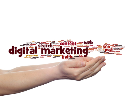 Concept or conceptual digital marketing seo or traffic word cloud in hand isolated