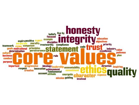 Vector conceptual core values integrity ethics abstract concept word cloud isolated on background metaphor to honesty, quality, trust, statement, character, important, perseverance, respect trustworthy Illustration