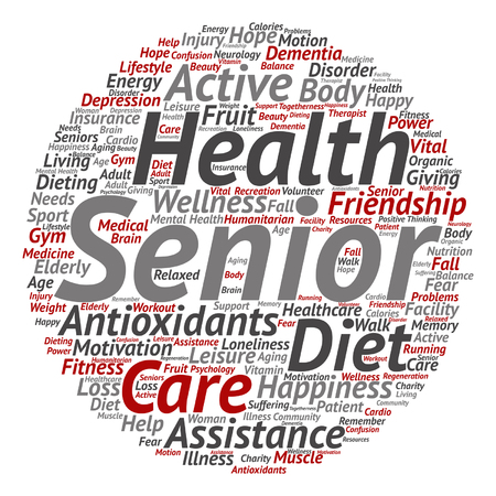 old people: Vector conceptual old senior health, care or elderly people abstract word cloud isolated