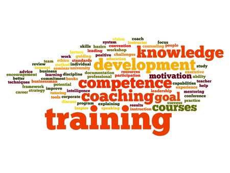 개념 또는 개념적 훈련, 코칭 또는 학습, 배경에 고립 된 단어 구름을 연구