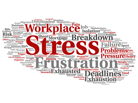 transactional: Conceptual mental stress at workplace or job word cloud isolated on background