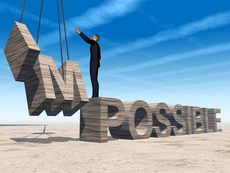 Conceptual 3D business man standing over abstract stone impossible text over sky