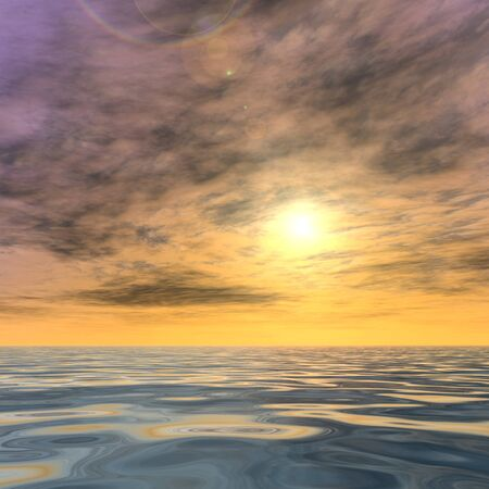 3D conceptual sunset or sunrise background with the sun close to horizon and sea or ocean Stock Photo - 82430470