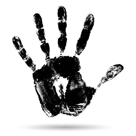 ベクトル概念や概念のかわいい黒の塗料人間手、白い背景で隔離の子供の手形