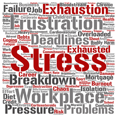 workplace stress: Vector conceptual mental stress at workplace or job word cloud isolated on background Illustration