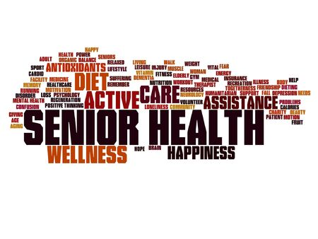 Vector conceptual old senior health, care or elderly people abstract word cloud isolated Banco de Imagens - 83157357