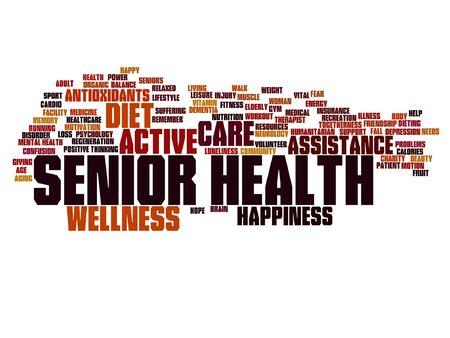 Vector conceptuele oude senior gezondheid, zorg of ouderen abstracte woord wolk geïsoleerd Vector Illustratie