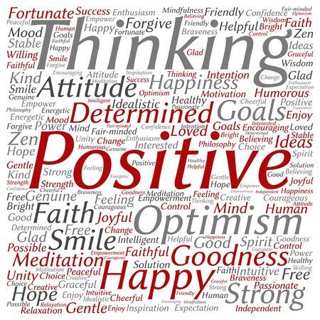 Concepto de vector o pensamiento positivo conceptual, feliz o fuerte actitud palabra nube aislada en segundo plano Ilustración de vector