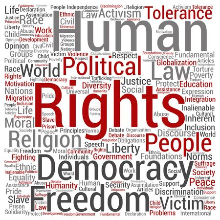 slavery: Vector human rights political freedom or democracy square word cloud isolated on background