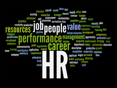 Vector concept conceptual hr or human resources word cloud isolated on background  イラスト・ベクター素材
