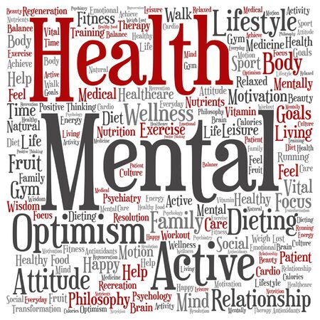 Vector conceptuele geestelijke gezondheid of positief denken abstracte woord wolk geïsoleerd