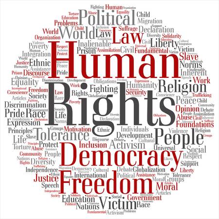 Vector concept or conceptual human rights political freedom or democracy square word cloud isolated on background Illustration