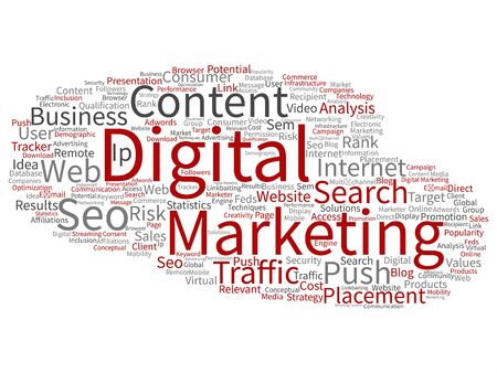 keywords: Concept or conceptual digital marketing seo traffic abstract word cloud isolated on background. Collage of business, market, content, search, web push, placement, communication technology text