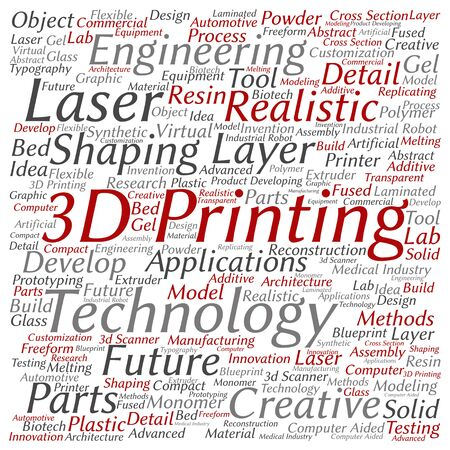 additive manufacturing: Concept or conceptual 3D printing creative laser technology word cloud isolated on background